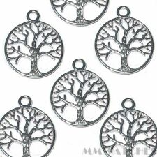 10 TIBETAN BRIGHT SILVER  BEADS TREE OF LIFE CHARM PENDANTS SIZE 24mmx20mm TS47