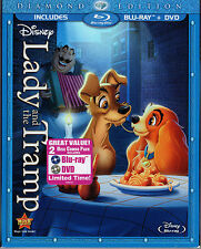DISNEY LADY AND THE TRAMP 2 Disc DIAMOND BLU RAY DVD SEALED Authentic U.S