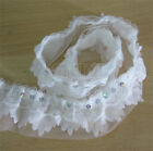 Vintage Sequins Gathered Lace Edge Trim Pleated Organza Ribbon DIY White 4-layer