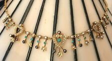 Fine Antique Victorian 9ct Gold Turquoise, Seed Pearl Heart Necklace