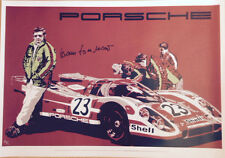 Le Mans 24 hours 1970 winning Porsche 917K Art poster signed by Hans Herrmann +