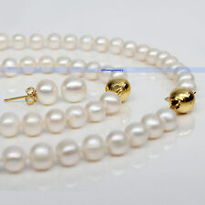 14K Gold Plated Genuine White Freshwater Pearl Necklace Bracelet Earring | FJUS