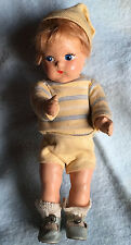 c.1940s TODDLES Vogue Early Ginny Composition Boy Doll - WWII Era Vtg toodles