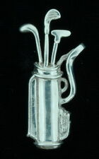 Sterling Silver Mexico Golf Bag & Clubs Pin Estate Brooch