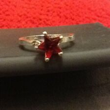 Star Shaped Red Garnet Ring Size 7.25 Stamped .925