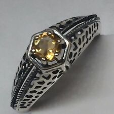 Natural 0.5ct Golden Citrine 925 Solid Sterling Silver Victorian Filigree Ring 8