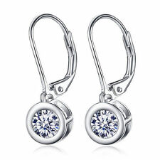 925 Sterling Silver 5MM Round Crystal CZ Water Drop Dangle Leverback Earrings