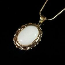 Handmade White Mountain Jade Oval Gemstone Pendant Necklace 18K Gold Plated