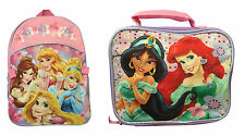 Disney Princess Backpack Rapunzel Ariel Cinderella Beauty School Bag Lunch Case