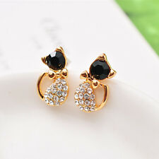 Fashion Women Lady Crystal Rhinestone lovely cat kitty Ear Stud Earrings Elegant
