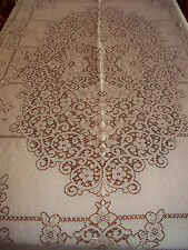 "COTTON LACE WHITE TABLECLOTH QUAKER LOOPS SQUARE 75"" X 60"""