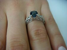 SOLITAIRE SAPPHIRE RING IN HANDMADE 18K WHITE GOLD DIAMOND FILIGREE SETTING