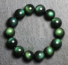 10mm Genuine Natural Green Eyes Obsidian Gold Flash Gems Beads Bracelet