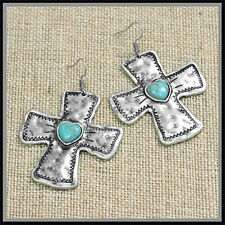 CHUNKY LONG BIKER WESTERN SILVER INDIAN TURQUOISE CROSS EARRINGS VALENTINES DAY