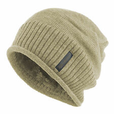 Men's Winter Baggy Solid Knit Slochy Cozy Beanie Hat Fur Lined Skull Ski Cap