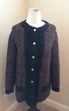 CHANEL CREATIONS VTG RARE Wool Sweater Jacket Size 38 Black Red Gold CC Buttons
