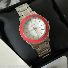 DKNY NY8792 Brooklyn Silver Tone Stainless Steel Coral Top-ring Watch NWT Box