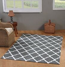 Chesapeake Printed Area Rug 5 Feet by 7 Feet Grey and White Floor Home Decor