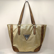 GUESS Large TOTE Shopper NWT ME324525 Star Metal GOLD Bag Purse Handbag NEW $115
