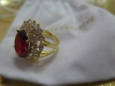 Melania (Trump) Oval Simulated Ruby Gemstone Ring w/ Crystal Accent Size 6