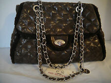 BIG BUDDAH JULES BROWN QUILTED FAUX SHEARLING SHOULDER  HAND BAG Chain Handle
