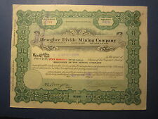 Old Vintage 1918 - BROUGHER DIVIDE MINING CO. - Stock Certificate - NEVADA