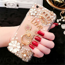 Rhinestone Bling Luxury Crystal Diamond Pearl Back Case Cover For Smart Phones