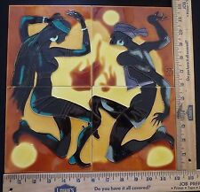DECORATIVE CERAMIC TILES MOSAIC PANEL HAND PAINTED WALL ART MURAL  12in x 12in