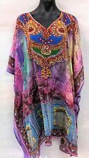 Loose Fitting Sheer Embellished Kaftan  Digital Printed Size 20-22-24-26