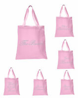 Baby PinkCrystal Wedding Favour Tote Bag custom bridal hen party gift bags