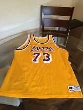 Dennis Rodman Los Angeles Lakers Yellow Champion Jersey 48 Excellent Condition