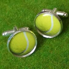 Unique! TENNIS BALL CUFFLINKS chrome WIMBLEDON sport MURRAY federer FITNESS