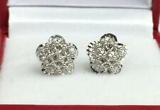 18k Solid White Gold Cute Flower Stud Earrings, Diamond Cut 2.30 Grams