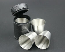 4pcs Camping / Travel Stainless Steel Shot Glass Set with PU Leather Case Cover