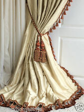 OPULENT 100% SILK Blanket Interlined Curtains & Tiebacks Pale Cream 2 PAIRS AVL.