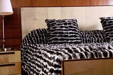 EMPRESS CHINCHILLA HALF SKINS TOPS BLANKET BEDSPREAD THROW COAT PILLOWS INCLUDED