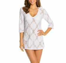 J. Valdi Swim Cover Up Sz L White Mesh Diamond 3/4 Sleeve Tunic V-Neck 14825