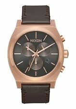 *BRAND NEW* NIXON TIME TELLER CHRONO LEATHER ROSE GOLD GUNMETAL BROWN A11642001