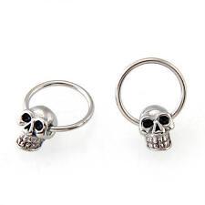 """Stainless Steel Skull Mens Cool Round Hoop Loop Earrings 0.39x0.28"""""""