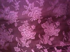 "Burgundy maroon rose flower satin brocade jacquard fabric, 60""w, sold BTY"