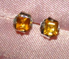 3.0MM SQUARE NATURAL GOLDEN CITRINE STUDS IN STERLING SILVER