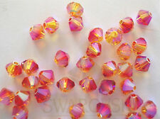 24 Fire Opal AB2X Swarovski Beads Bicone 5328 4mm
