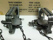 2 Duke # 4 Rubber Jaw 4 Coil Spring Traps  Beaver Coyote Lynx Trapping 0505