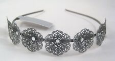 New Metal Headband With Ornate Flowers & Crystals Nwt From Target #H0108