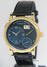 A. Lange & Sohne Lange 1 Doppelfederhaus 18k Yellow Gold RARE Blue Dial 101.028