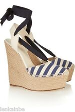 Gucci Alexis Canvas Espadrille Lace Up Stripe Platform Wedges 371687 38.5 8.5