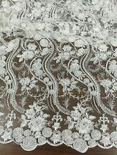 """WHITE CORDED EMBROIDERY BRIDAL MESH LACE FABRIC 50"""" WiIDE 3 YARD"""