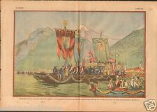 Corpus Christi Boat procession Traun Linz-Land Österreich 1933 ILLUSTRATION