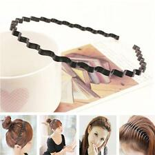 Sports Black Wavy Headband Hairband Hoop Metal