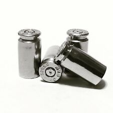 Set of 4 Bullet Valve Caps For Car - Silver / Nickel